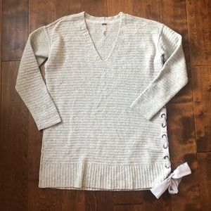 Free People | Gray Heart It Lace Up V-Neck Sweater